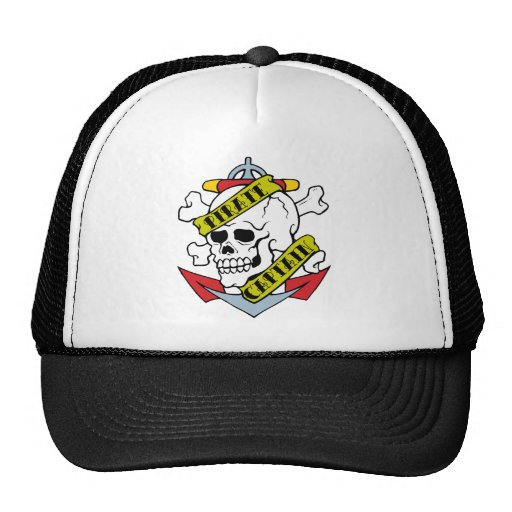 Vintage Hat Tattoos: Pirate Captain Tattoo Trucker Hat
