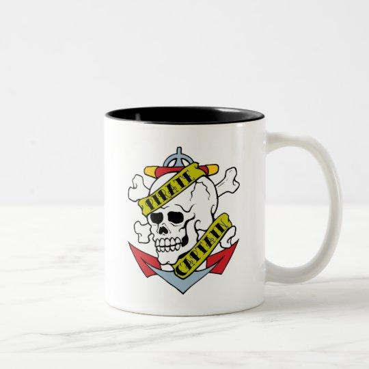Pirate Captain Tattoo Two-Tone Coffee Mug