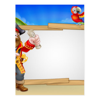 Pirate Cartoon Beach Sign Background Postcard