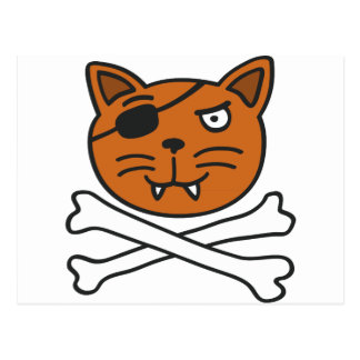 pirate cat and bones postkarten