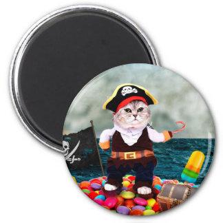 Pirate cat - candy cat - pet cat - tabby cat magnet
