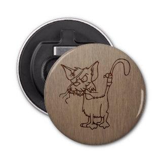 Pirate cat engraved on wood design bottle opener