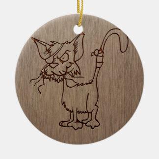 Pirate cat engraved on wood design ceramic ornament