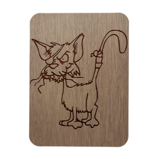 Pirate cat engraved on wood design magnet