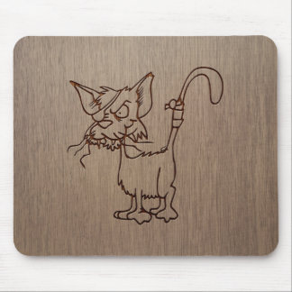 Pirate cat engraved on wood design mouse pad