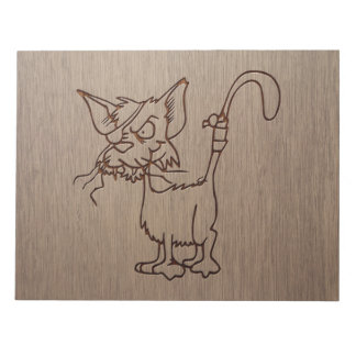 Pirate cat engraved on wood design notepad