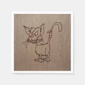 Pirate cat engraved on wood design paper napkin