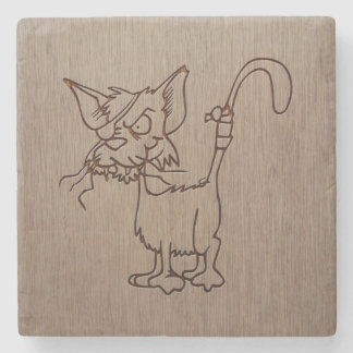 Pirate cat engraved on wood design stone coaster
