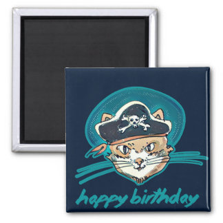 pirate cat funny cartoon happy birthday magnet