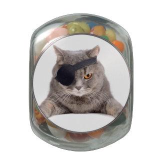 Pirate Cat Glass Candy Jars