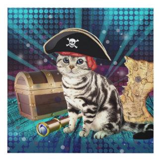 pirate cat panel wall art