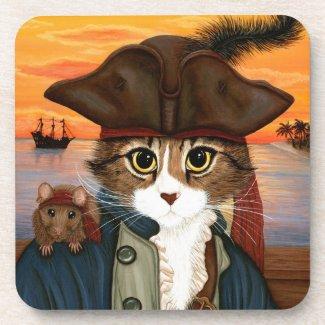 Pirate Cat & Rat, Captain Leo Fantasy Art Coasters fuji_coaster