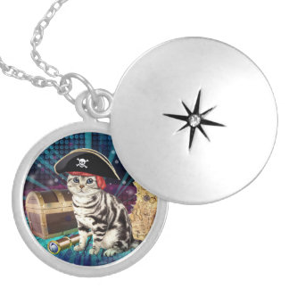pirate cat silver plated necklace