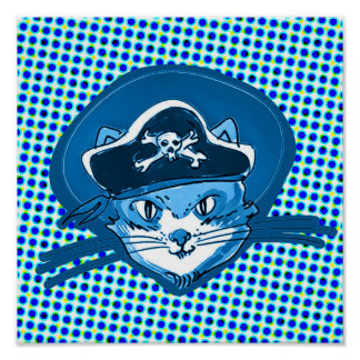 pirate cat sweet kitty with pirate hat cartoon poster