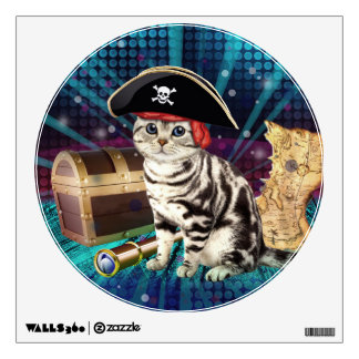 pirate cat wall decal