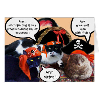 PIRATE CATS AND ANTIQUE PIRATES TREASURE MAPS GREETING CARD