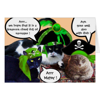PIRATE CATS AND ANTIQUE PIRATES TREASURE MAPS CARDS
