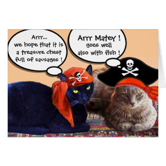 PIRATE CATS AND ANTIQUE PIRATES TREASURE MAPS GREETING CARDS