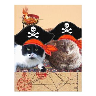 PIRATE CATS AND ANTIQUE PIRATES TREASURE MAPS LETTERHEAD