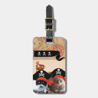 PIRATE CATS AND ANTIQUE PIRATES TREASURE MAPS LUGGAGE TAG