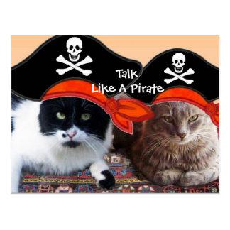 PIRATE CATS AND ANTIQUE PIRATES TREASURE MAPS POSTCARD
