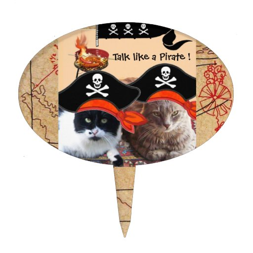 PIRATE CATS ANTIQUE PIRATES TREASURE MAPS AND FLAG CAKE TOPPER