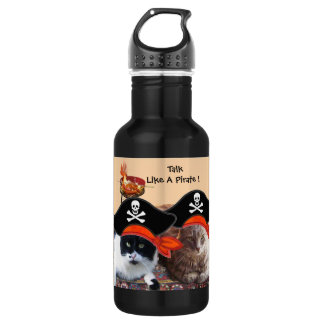 PIRATE CATS ANTIQUE PIRATES TREASURE MAPS AND FLAG 18OZ WATER BOTTLE