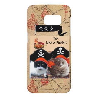 PIRATE CATS ANTIQUE PIRATES TREASURE MAPS AND FLAG SAMSUNG GALAXY S7 CASE