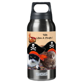 PIRATE CATS ANTIQUE PIRATES TREASURE MAPS AND FLAG 10 OZ INSULATED SIGG THERMOS WATER BOTTLE