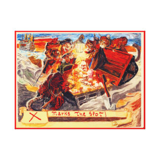 Pirate Cats Find The Loot, In Red Canvas Print