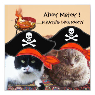 PIRATE CATS ,Talk like a Pirate Day Bbq Party Card