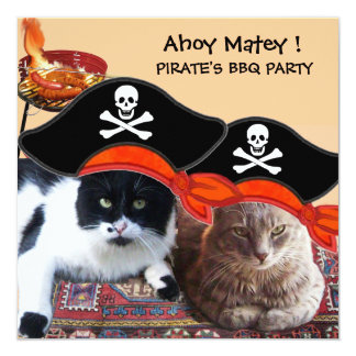 """PIRATE CATS ,Talk like a Pirate Day Bbq Party 5.25"""" Square Invitation Card"""