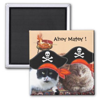 PIRATE CATS ,Talk like a Pirate Day BBQ Party Magnet