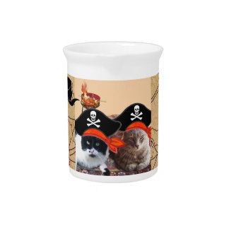 PIRATE CATS ,Talk like a Pirate Day Beverage Pitchers