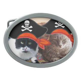 PIRATE CATS ,Talk like a Pirate Day Oval Belt Buckle