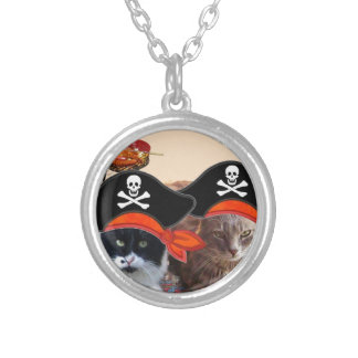 PIRATE CATS ,Talk like a Pirate Day Round Pendant Necklace