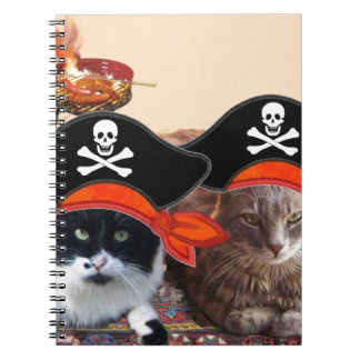 PIRATE CATS ,Talk like a Pirate Day Spiral Notebook