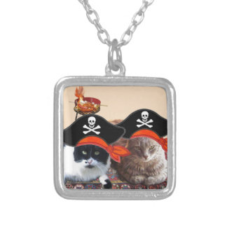 PIRATE CATS ,Talk like a Pirate Day Square Pendant Necklace