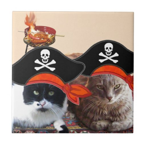 PIRATE CATS ,Talk like a Pirate Day Tile