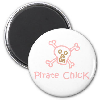 Pirate Chick 2 Inch Round Magnet