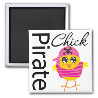 Pirate Chick 2 Inch Square Magnet