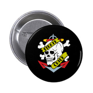 Pirate Chick Skull Pinback Buttons
