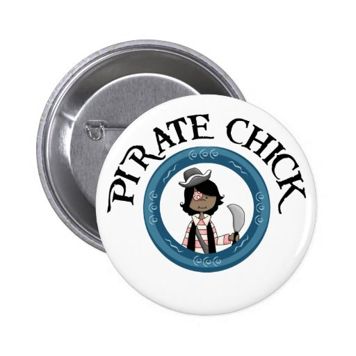 Pirate Chick With Sword 2 Inch Round Button