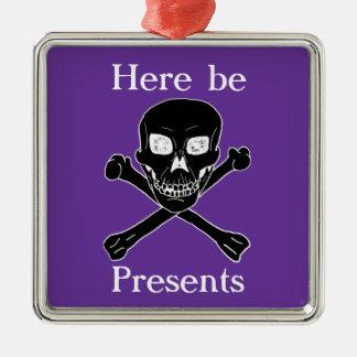 pirate christmas metal ornament