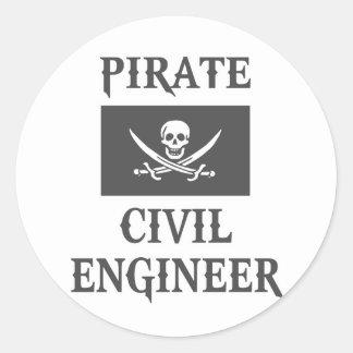 Pirate Civil Engineer Classic Round Sticker