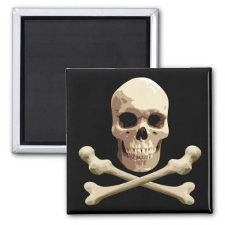Pirate Club - Skull and Crossbones 2 Inch Square Magnet