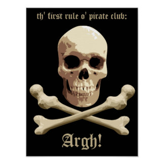 Pirate Club - Skull and Crossbones Poster