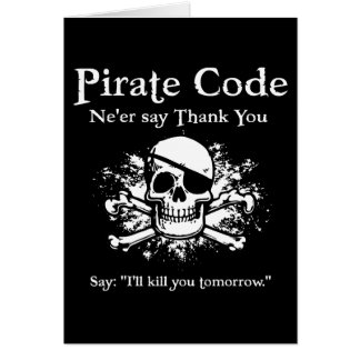 Pirate Code: Thank You Card