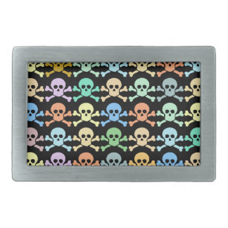 pirate colored skulls rectangular belt buckle