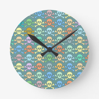 pirate colored skulls round clock
